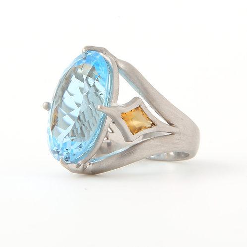 Modern, Large Blue Topaz & Citrine Ring 18K White Gold521