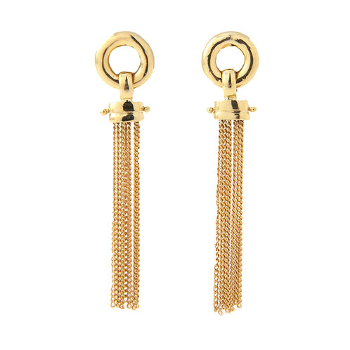 Dangle Multi Chain Link Earrings 18K Yellow Gold
