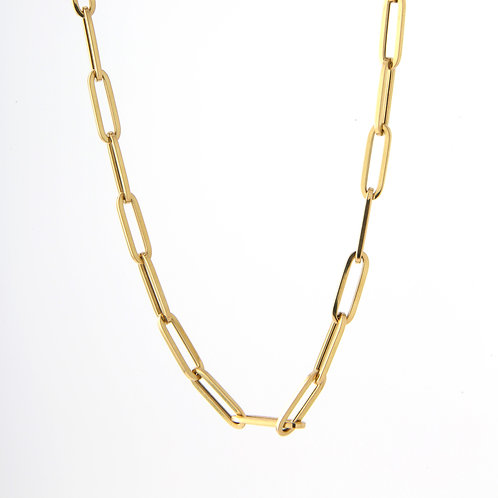 "Paper Clip Chain/Necklace 18K Yellow Gold, 16"" NEW"