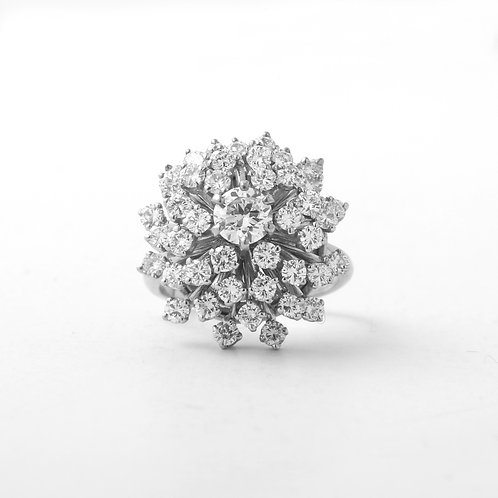 Vintage Diamond Cluster Cocktail Ring 14K White Gold 2.60 CTTW