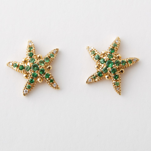 A Pair Of Temple St Clair New Never Worn 18k Yellow Gold Sea Star Earrings Pave Set With Tsavorite And Diamonds Posts Large Backs