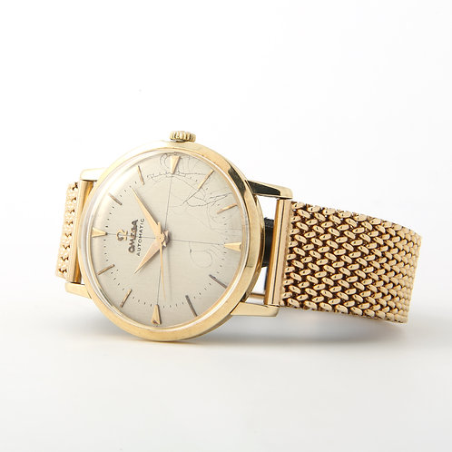 Vintage Men's, Omega Watch 14k Yellow Gold, Mid-Century