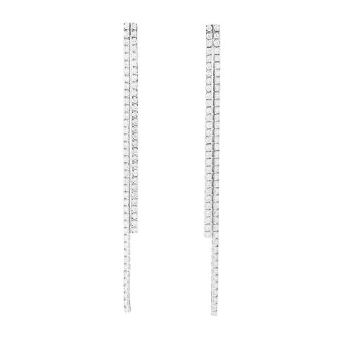 Straight-Line Double Drop Dangling Earrings 18K White Gold
