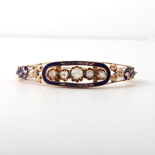 Antique Rose Gold Diamond and Blue Enamel Bangel Bracelet 14K