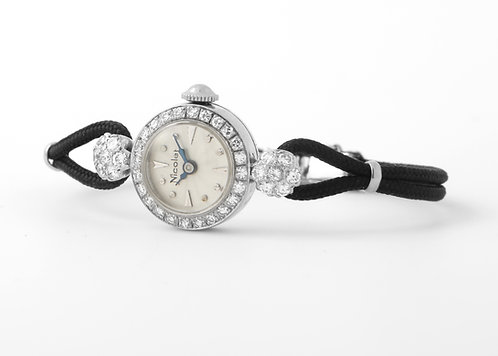 Art Deco Nicolet Diamond Dress Watch Black Cord Strap