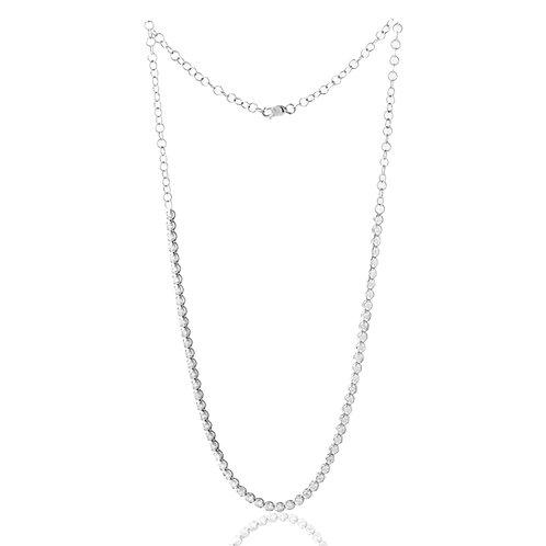 Diamond Straight Line Necklace 3.01 CTTW 14K White Gold, Adjustable