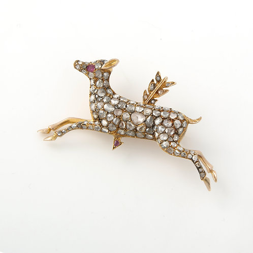 Antique Rose Cut Diamond Deer Brooch
