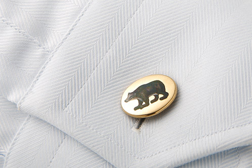 Bull and Bear 18 k and enamel cufflinks
