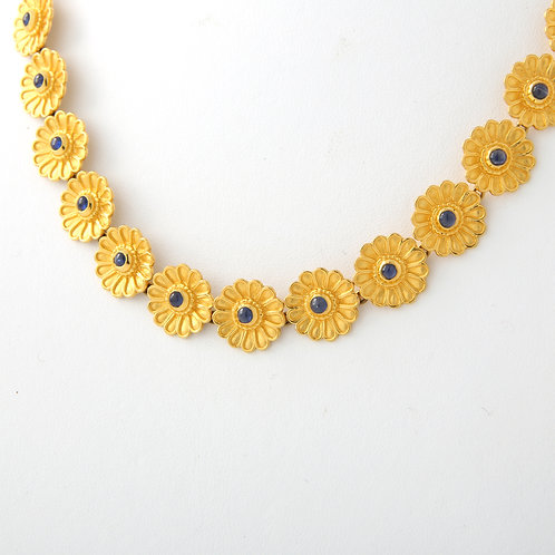 Daisy Necklace 14K Yellow Gold/ Cabochon Sapphires