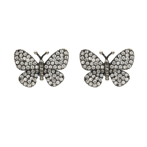 Diamond Butterfly Earrings Blackened Gold 18K