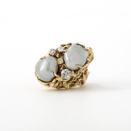 1970s Freeform, South Sea Pearl, Diamond and 14k Gold, Cocktail Ring