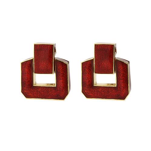 David Webb Paillone Red Enamel Door Knocker Earrings