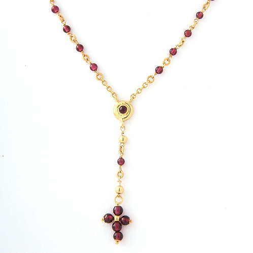 18K Garnet Rosary Cross Necklace
