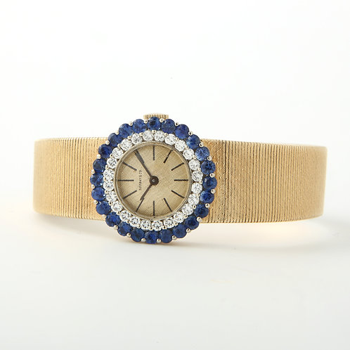 Mid-Century Ladies 14K Gold Dress Watch Diamonds & Sapphires Tiffany & Co. Dial