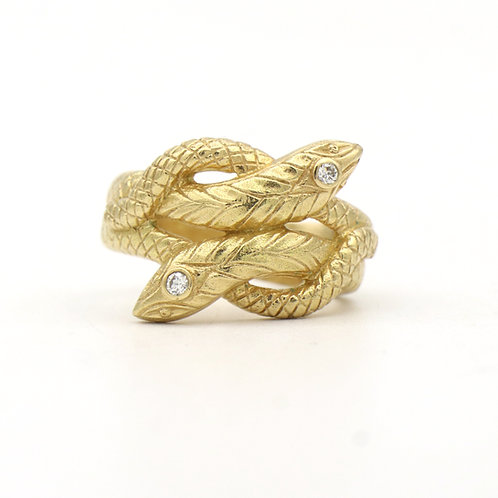 Double Snake Ring 18K Gold & Diamonds 1970's Style