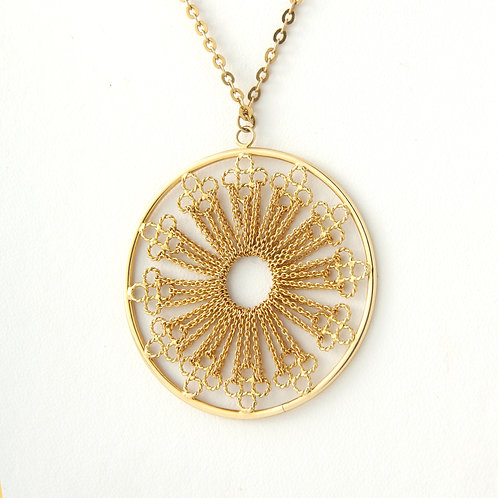 Contemporary, Large 14K Gold Decorative Disc Pendant, ITALY