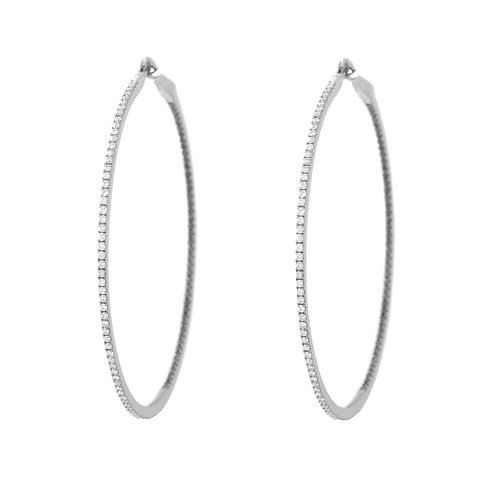 Black & White Diamond Hoops,  2.0 inch, Blackened 18K White Gold