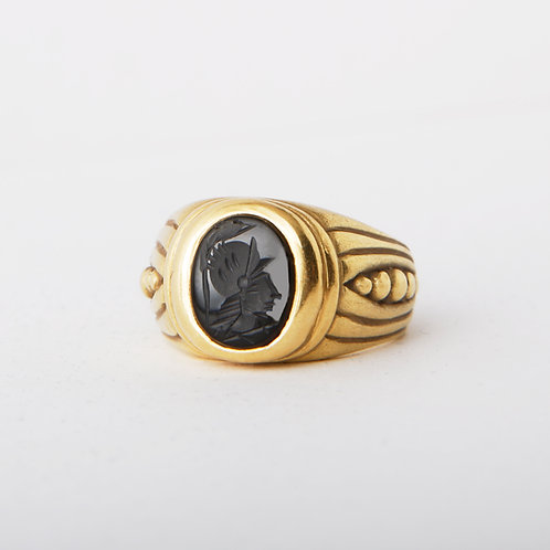 Vahe Naltchayan 18K Gold Onyx Intaglio Ring