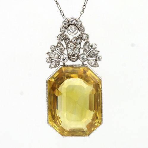 1900's Tiffany & Co. Antique Pendant Yellow Sapphire No Heat