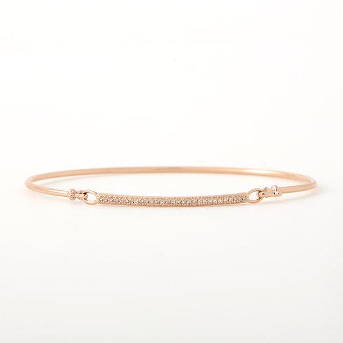 Delicate Diamond Bangle, 14K Rose Gold