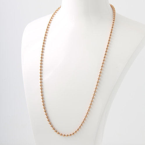 """14K Rose Gold Large Bead """"Toilet"""" Chain 24"""""""