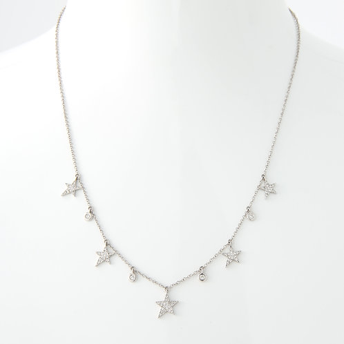 Delicate Dangling 5 Point Stars Necklace, 14K White Gold/Diamonds