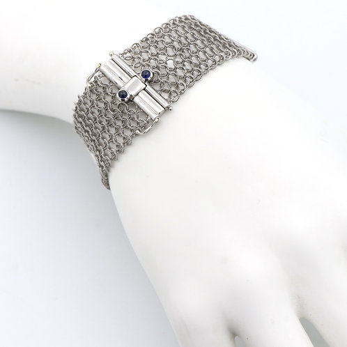Wide, Mesh Gold Bracelet with Diamond Bar Sections, 18K White Gold