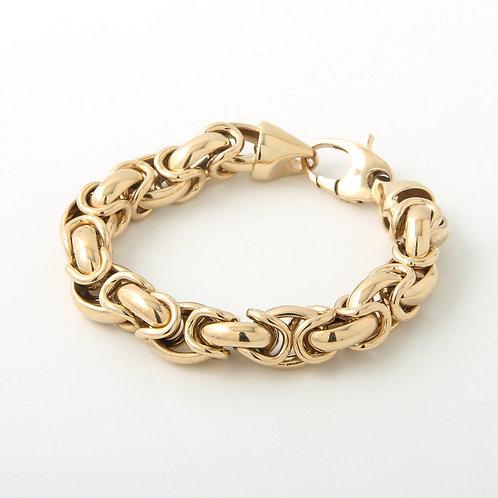 14k Gold Rounded Chunky Byzantine Chain Bracelet 39.3 grams