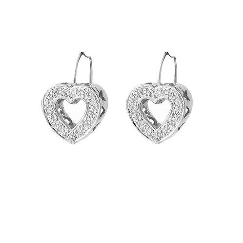 Open Heart Shape Diamond Earrings French Wires, 14K White Gold