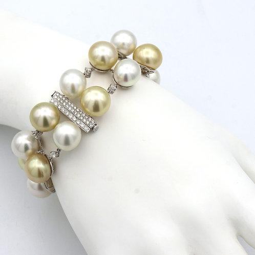South Sea Pearl & Diamond Bracelet 18K White Gold