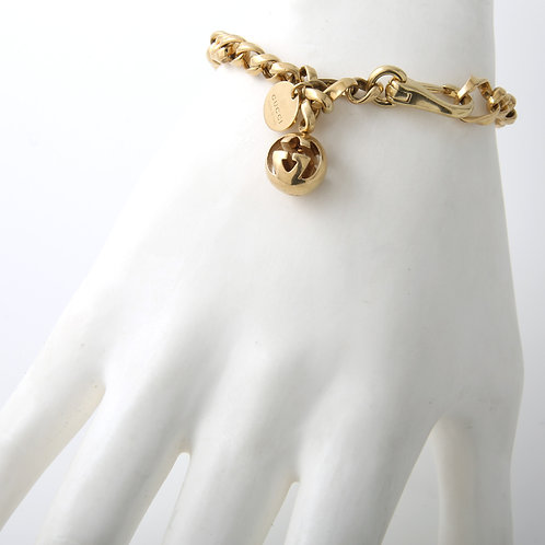 Gucci Link Bracelet With Dangling 18K Yellow Gold Ball Charm