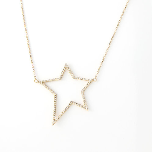 Five Point Diamond Star Necklace 14K Yellow Gold