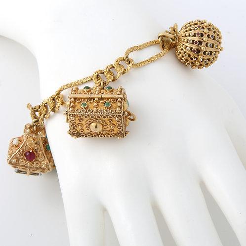 Fabulous 1960's Charm Bracelet 18k Gold
