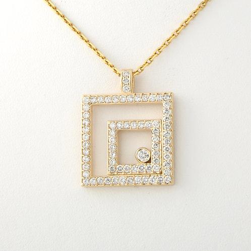 Geometric Double Square Diamond Pendant 14K Yellow Gold