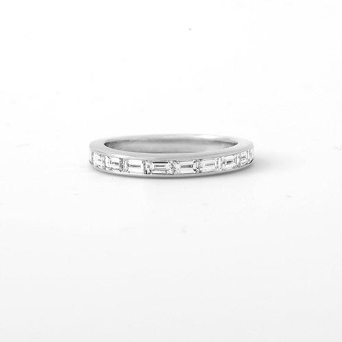 Platinum Baguette Half Way, Wedding Band Sz 6