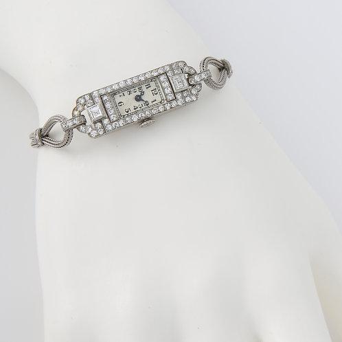 Art Deco Platinum Diamond Manual Wind Cocktail Wristwatch, 1930s