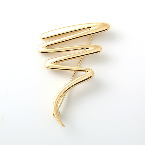 Paloma Picasso Zig-Zag Scribble Brooch 18K Yellow Gold