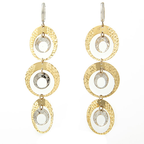 Long Dangling Diamond Cut Earrings 14K Yellow/White Gold