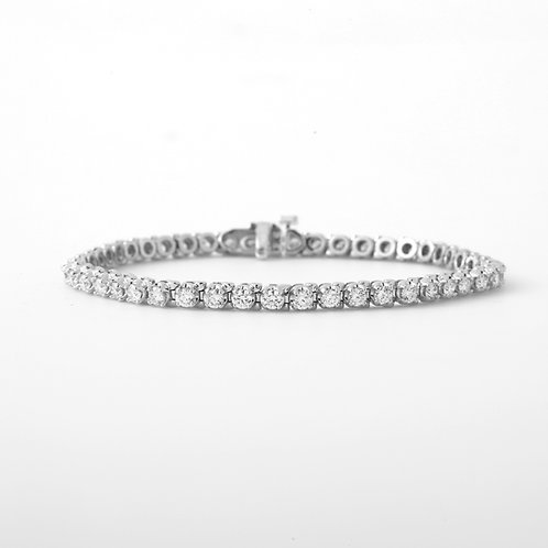 Diamond Straight-Line Tennis Bracelet 2.50CTTW 18K White Gold