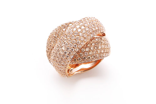 18kt gold pave ring, champagne color diamonds.