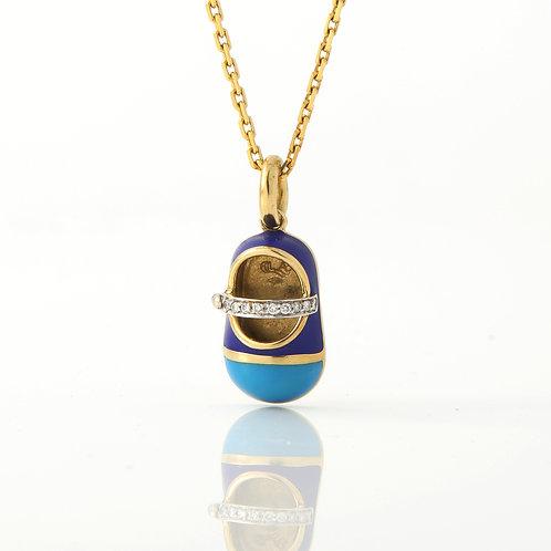 BASHA Blue Enamel Baby Saddle Shoe Charm/Pendant 18K Gold & Diamond