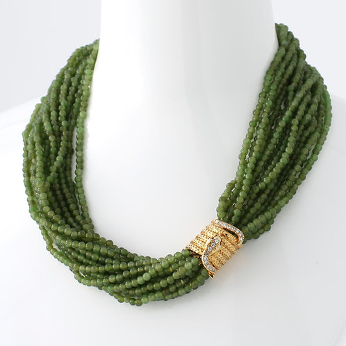 Multi Strand 3mm Jade Beads with Snake Barrel Clasp, Diamonds/Rubies, 14K Yellow