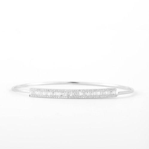 Diamond Bangle Bracelet Baguette & Rounds, 14K White Gold
