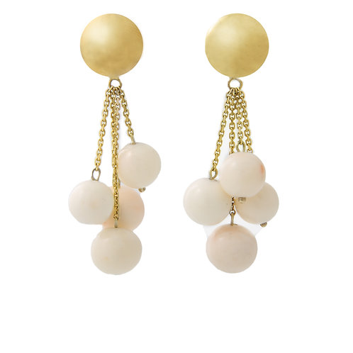 Vintage Angel Skin Coral Bead Drop Earrings 14K