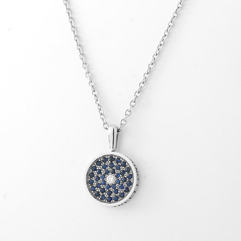 Asprey 167 Button Pendant, 18K White Gold Sapphires/Diamond