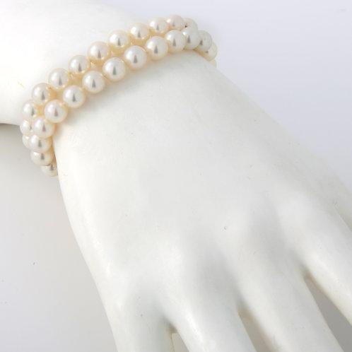 "Mikimoto Vintage, Double Strand Pearl Bracelet 7mm, 14K Yellow Gold 6.5"""