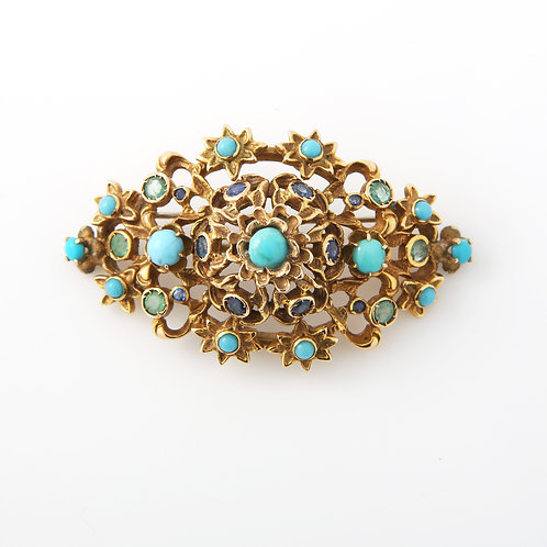 Mid-Century Brooch, Turquoise, Sapphires, 14K Yellow Gold