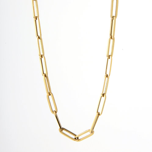 Paper Clip Chain/Necklace 18K Yellow Gold, 30""