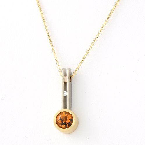 Contemporary Citrine/Diamond Pendant 18K Two-tone Gold