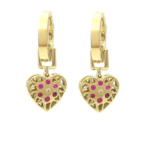 Dangling Heart Hoop Earrings 18K Yellow Gold, Diamonds & Pink Sapphires